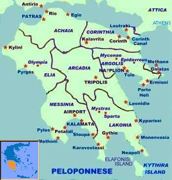 Peloponnes Karte.Die Region Peloponnes J G Hotel In Tolo